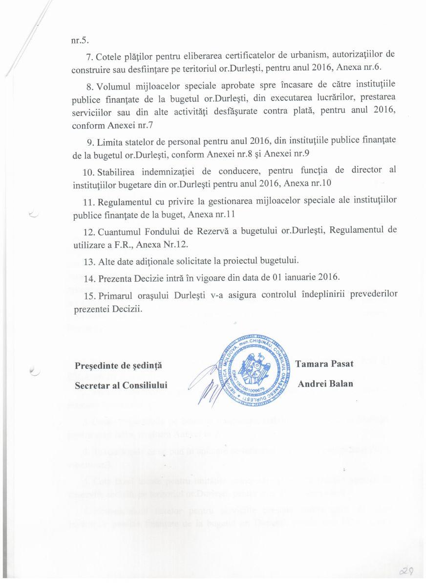 Decizie nr. 4/1.1 din 11.12.2015 cu privire la aprobarea Bugetului orasului Durlesti pentru anul 2016 in lectura I - p2